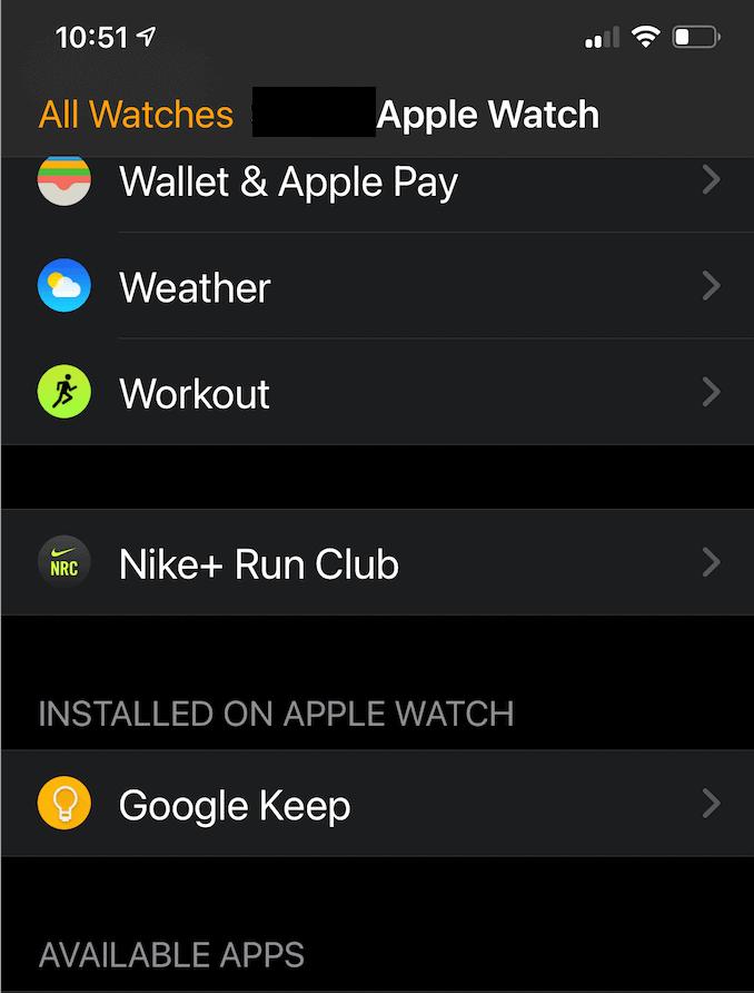 Check Google Keep install on Apple Watch