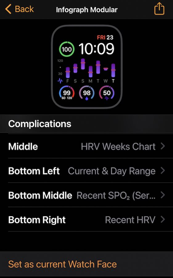Check HRV on Apple Watch face