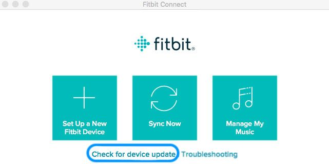 Fitbit Connect check for update for firmware