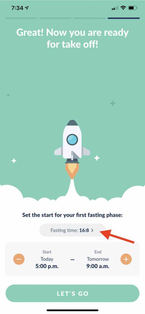 Choose Fastic Intermittent program type