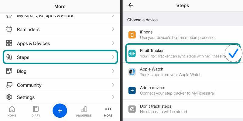 set Fitbit as MFP MyFitnessPal step tracker