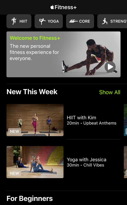workouts in Apple Fitness+