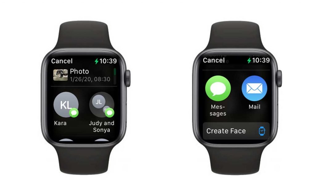 choose method for sharing photos from Apple Watch Photos app Messages or Email