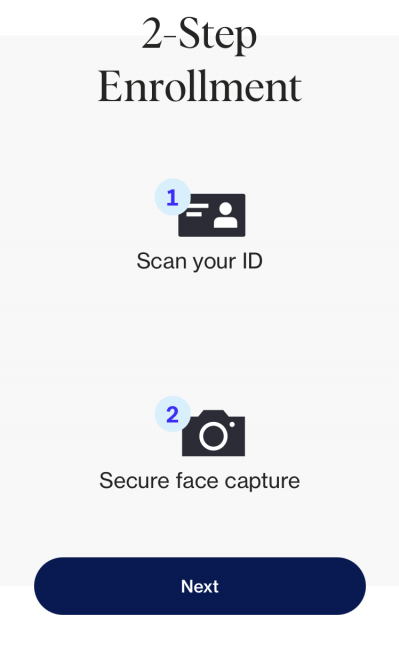 Face scan and ID for clear app