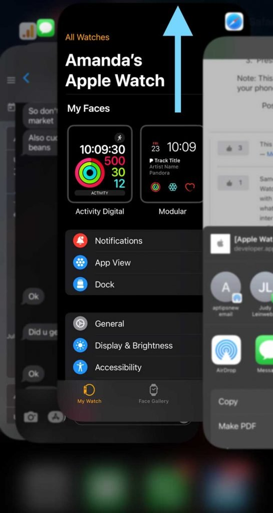 force close the Watch app on your iPhone