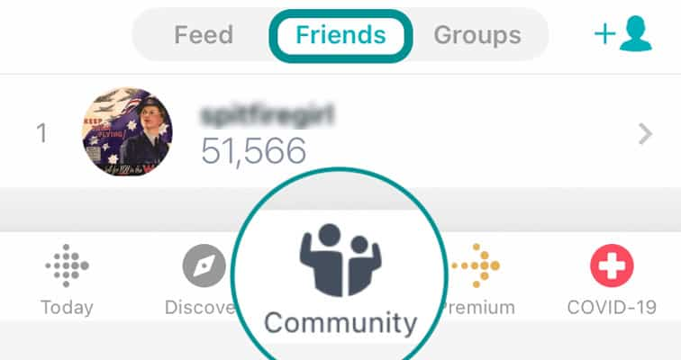 list of friends in the Fitbit app using the community tab