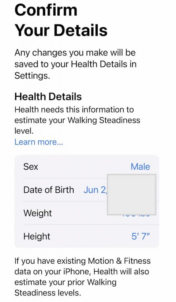 Confirm health details in IOS 15