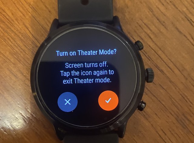 Confirm theater mode in Fossil Gen 5 settings