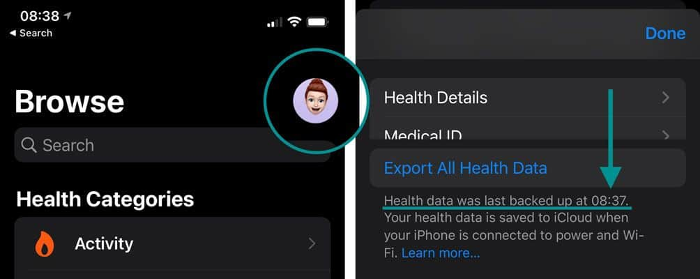 verify that iCloud backup included Health data in its backup