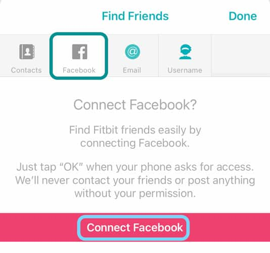 Find friends using Facebook in the Fitbit app
