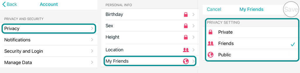 Fitbit app privacy settings for Friends