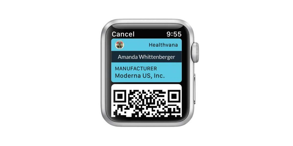 Apple Watch Wallet app with covid vaccine QR code and vaccine information