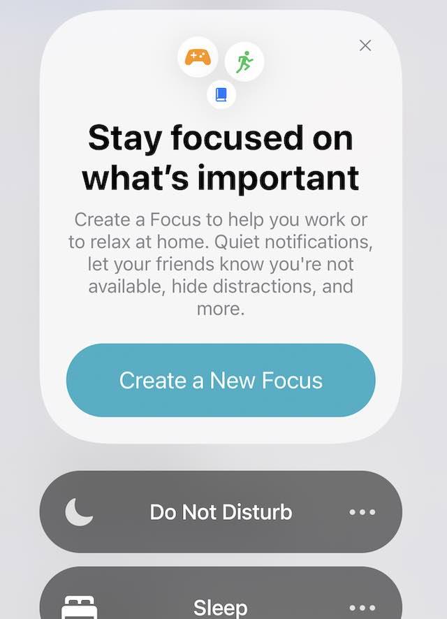 Create a new custom focus in iOS 15