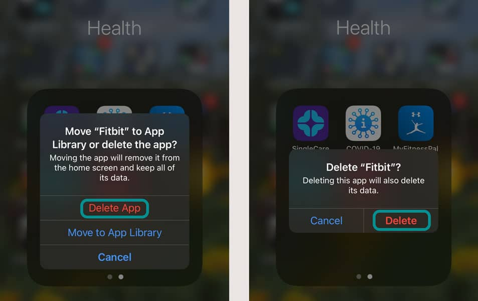 Delete the Fitbit app and its data from iPhone, iPod, or iPad