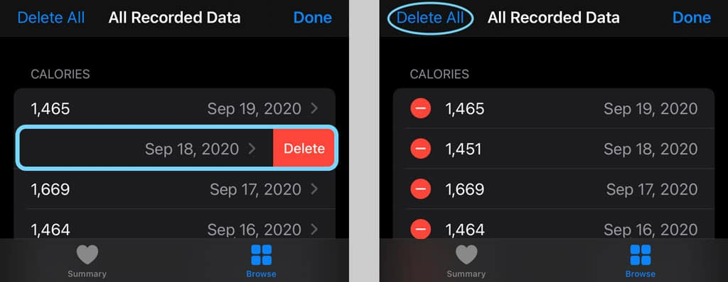 Delete an instance of data in the Health app