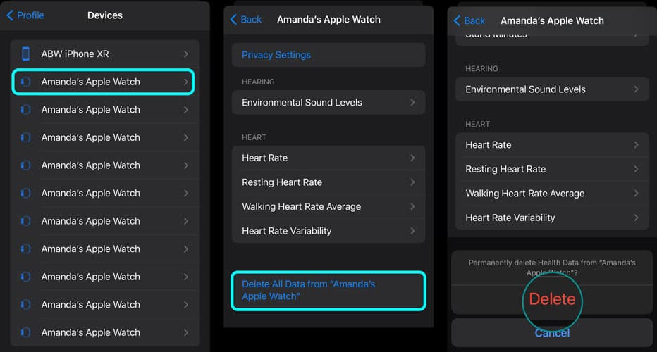 Remove data from a device inside the iPhone Health app