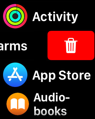 apple watch delete apps in list view