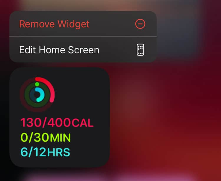 Remove Fitness app widget from iPhone using quick action menu