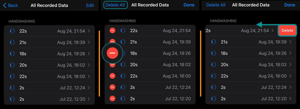 remove hand washing data from iPhone Health app