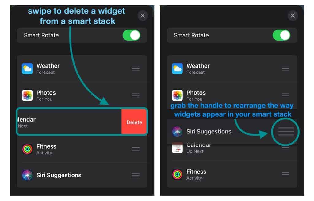 how to delete or rearrange smart stack widget order