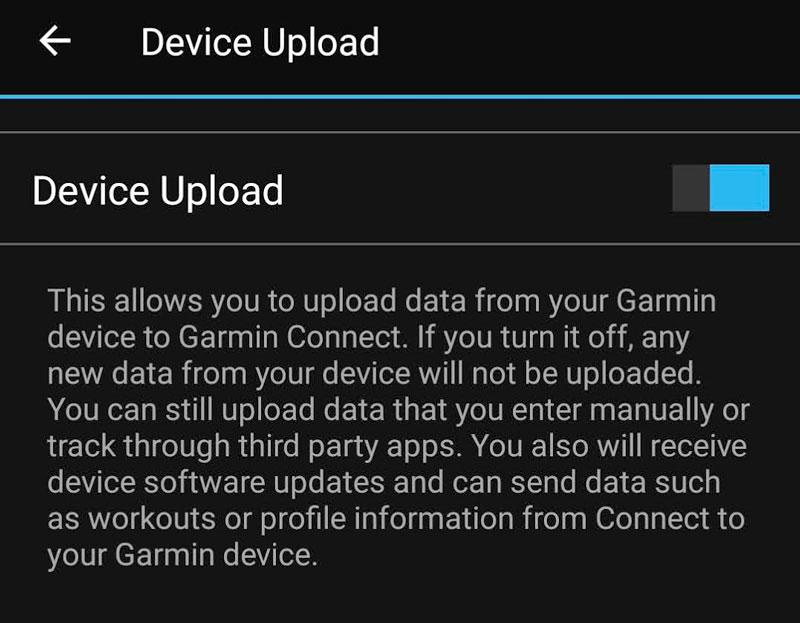 Garmin Connect app device upload setting