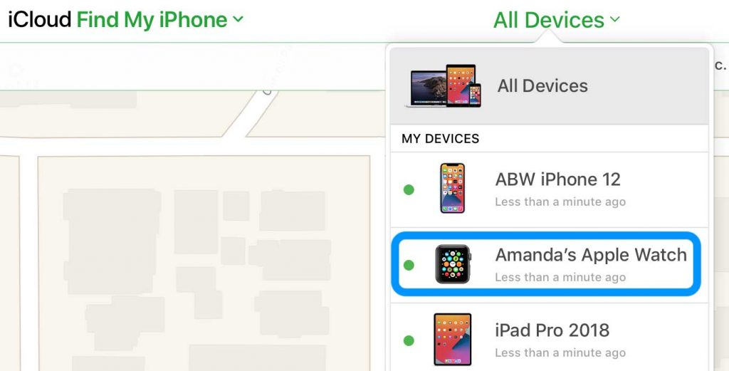 iCloud Find My app devices list
