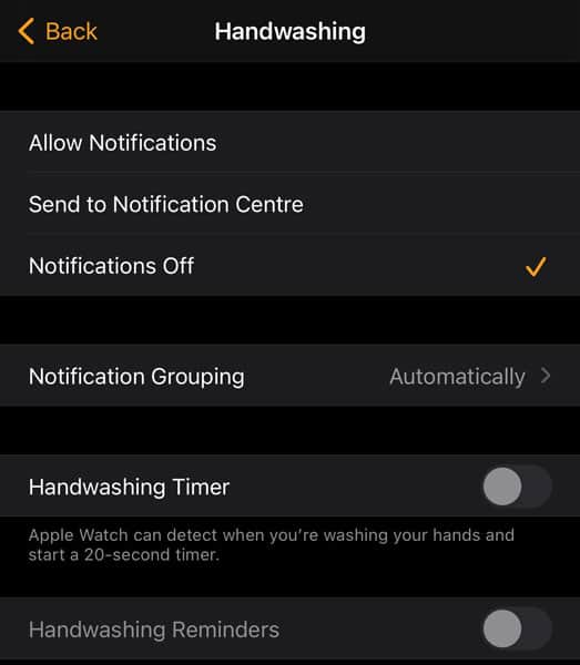 Turn off hand washing feature on Apple Watch