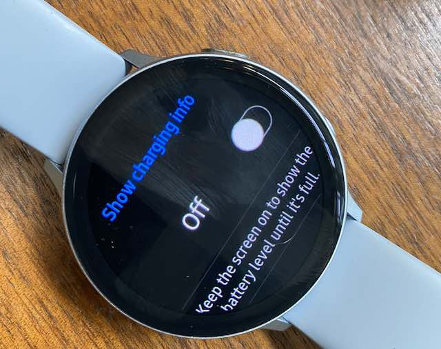 disable show charging info on galaxy watch