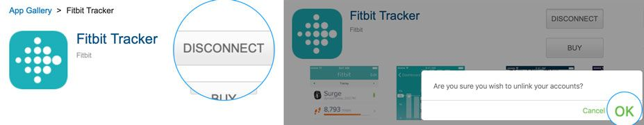 disconnect and unlink your Fitbit from MyFitnessPal
