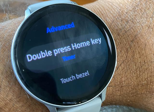 Double Press Home key for timer on Samsung Galaxy Watch