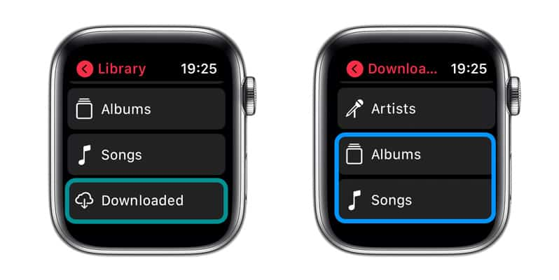 Find music downloaded to your Apple Watch
