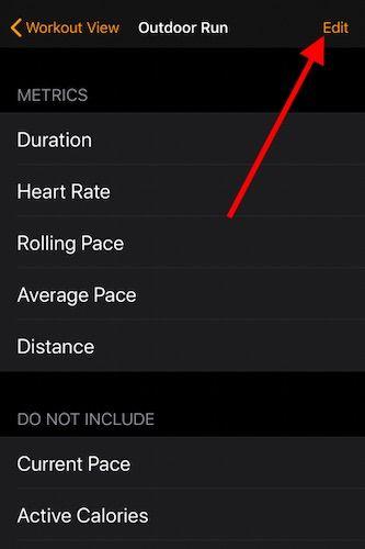 Edit Apple Watch workout metrics