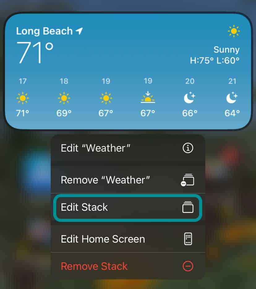long press a smart stack widget to see menu options including edit