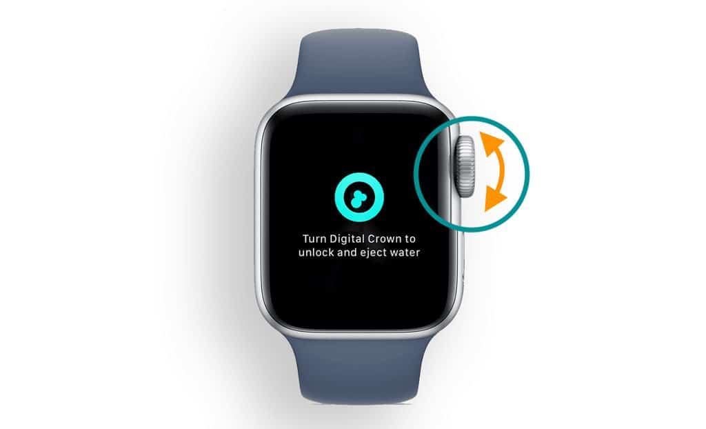 eject any water or liquid from your apple watch by turning the watch's digital crown when water lock is on