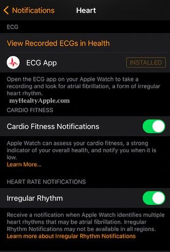Enable or Disable Cardio fitness level notifications