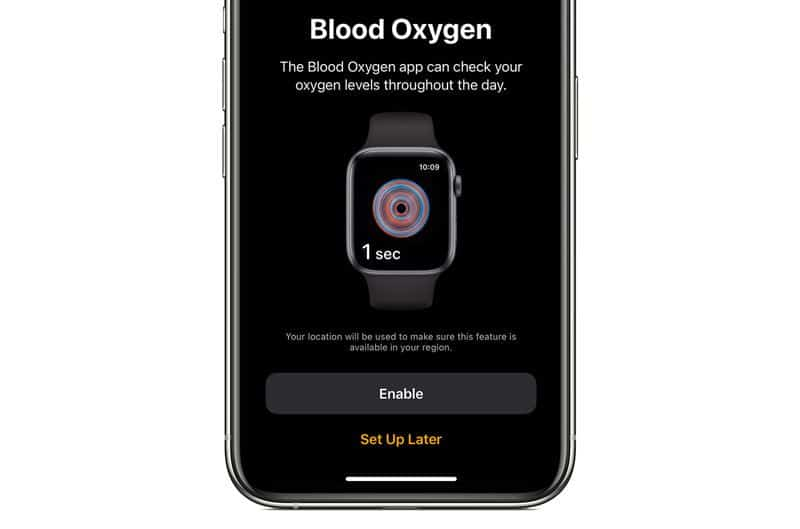 turn on blood oxygen measuring using Apple's Health app on iPhone