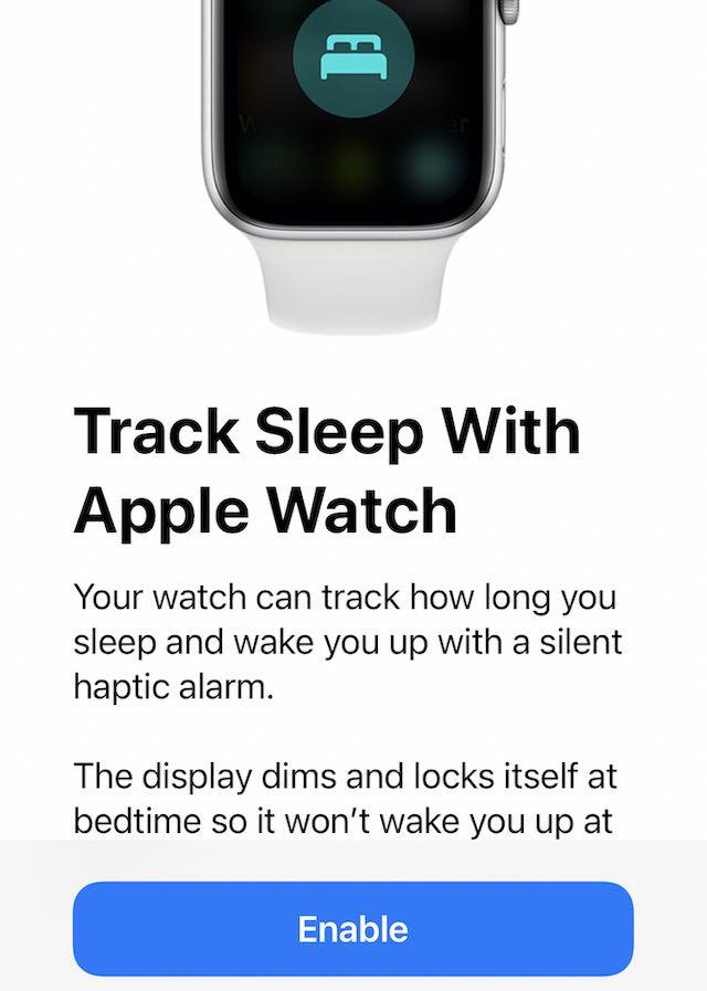 Enable track sleep with Apple Watch