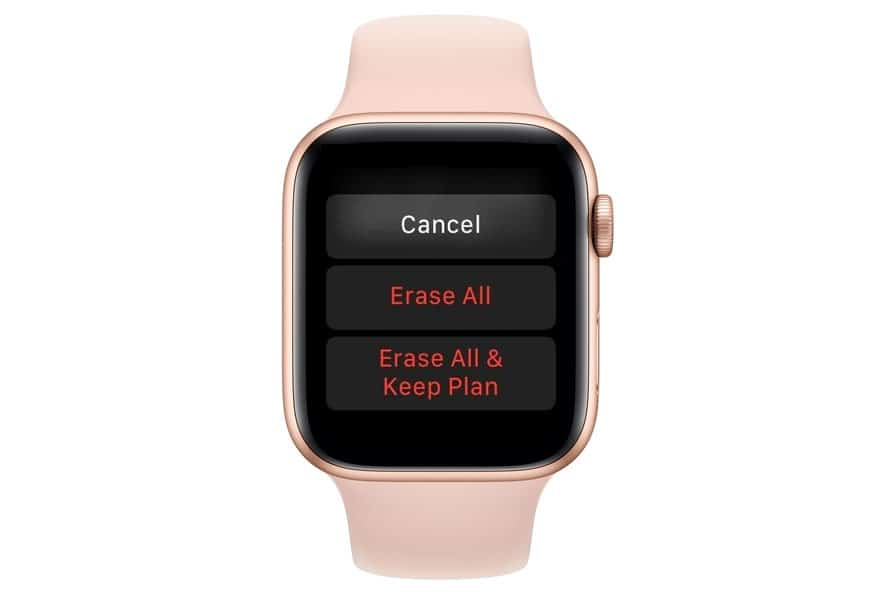 apple watch cellular plan erase options