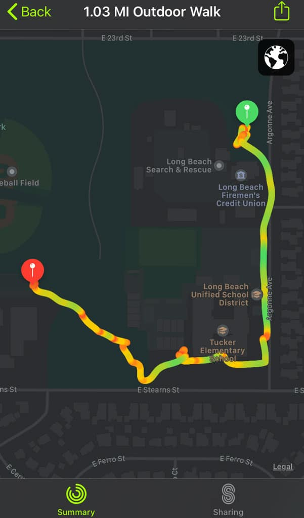 full screen map of apple workout app route map