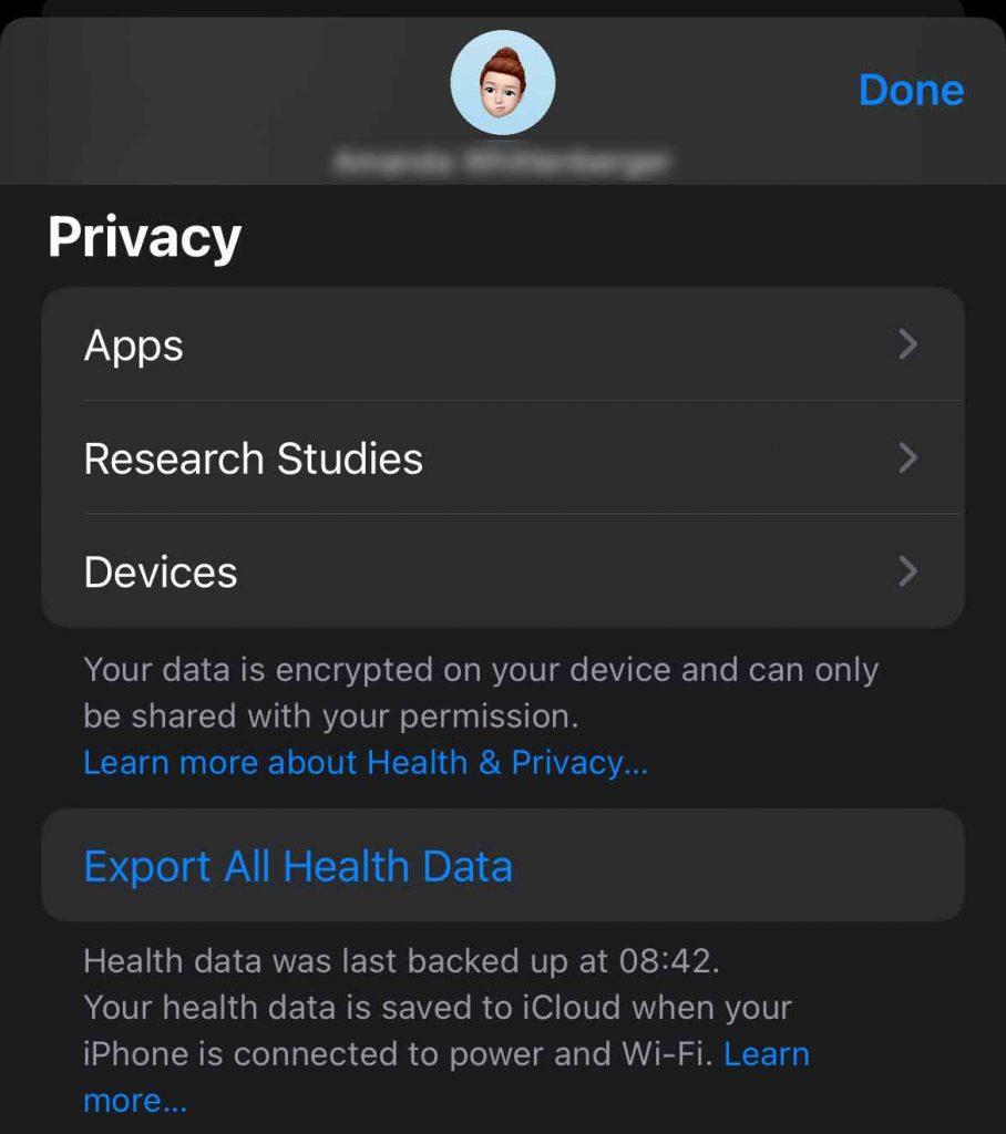 Apple Health app export all health data to a spreadsheet