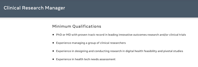 FaceBook clinical research manager