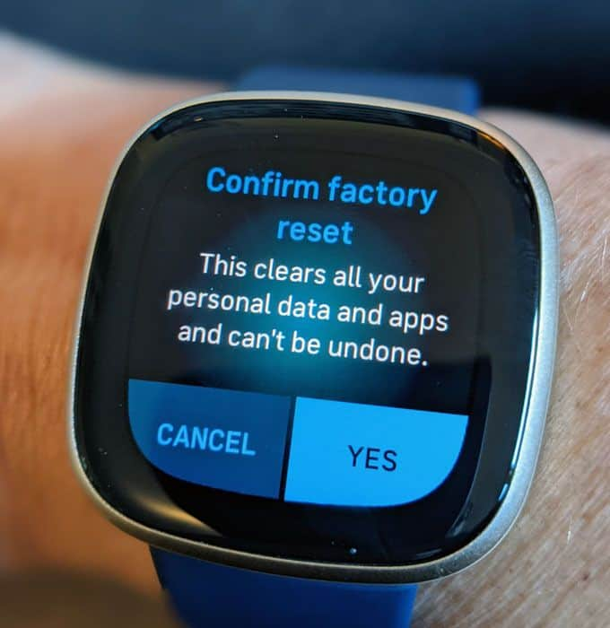 factory reset Fitbit Sense and Versa 3