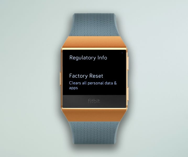 reset to factory settings Fitbit Ionic