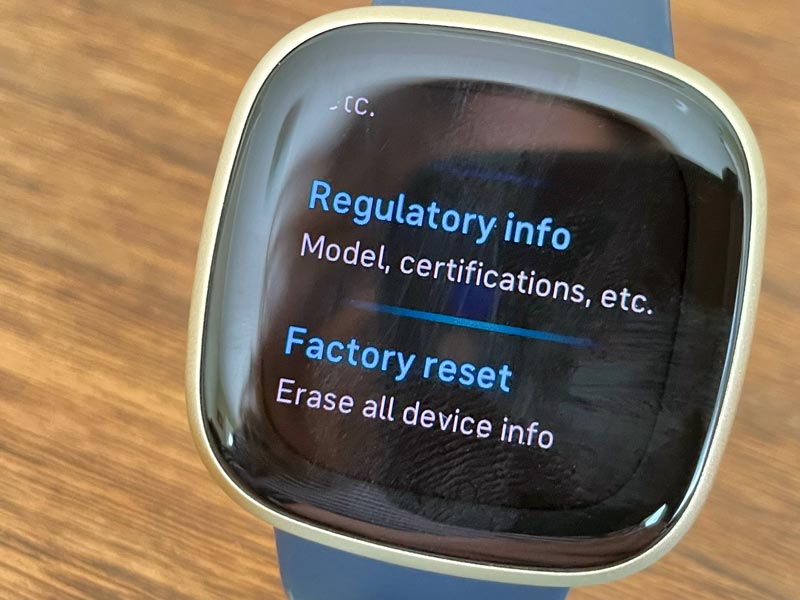 Fitbit Sense or Versa 3 factory reset