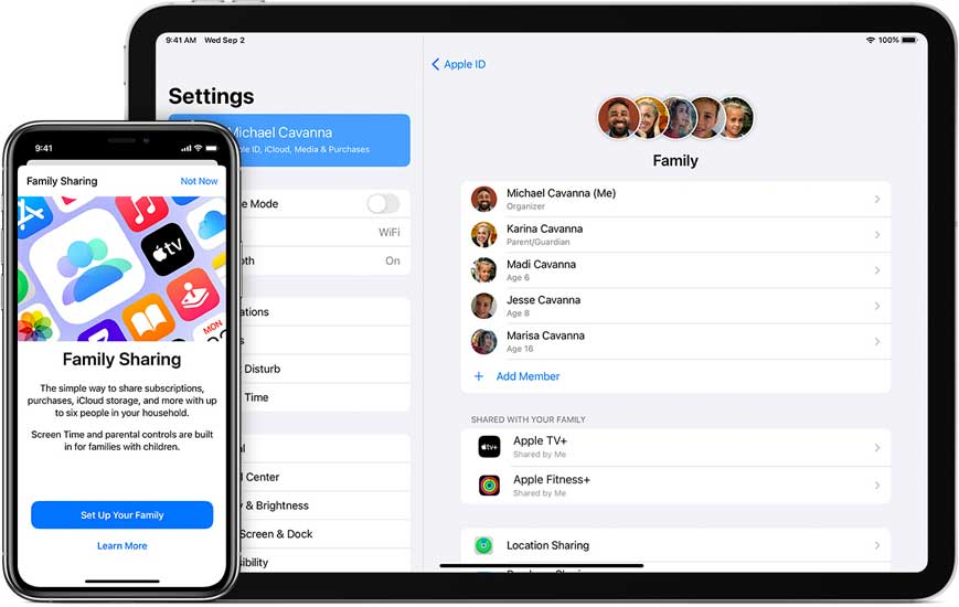 set up family sharing with Apple Fitness+