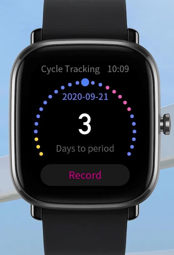 Amazfit GTS mini female cycle tracking feature