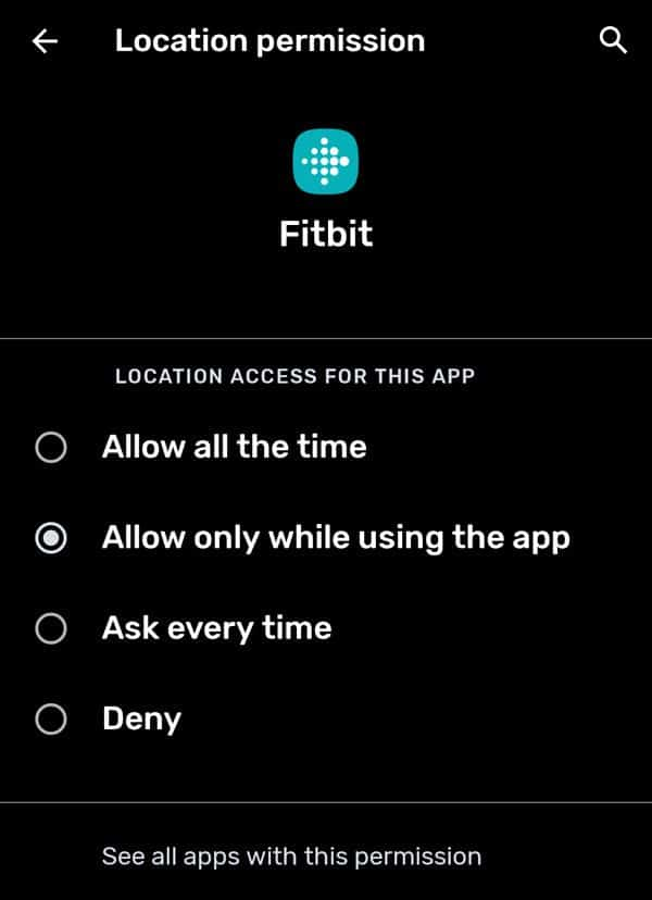 Android Fitbit app location permission