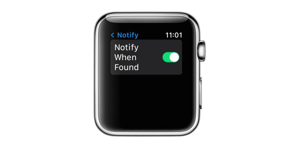 Apple Watch Find Items app notify when found feature