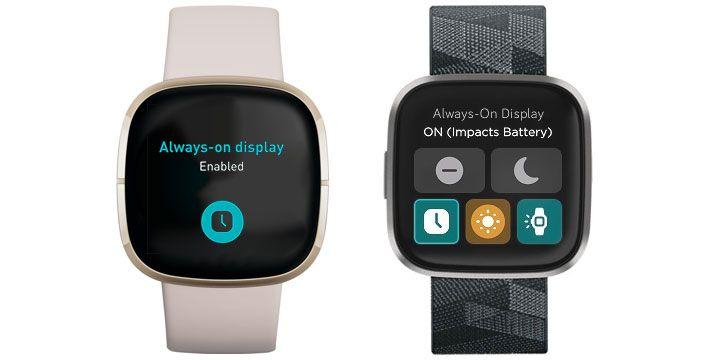 Fitbit always on display settings on Sense and Versa