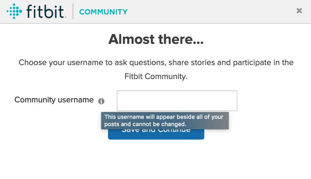 Creating a username for the Fitbit Community